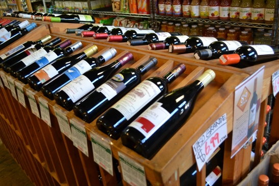 Wine bottles array